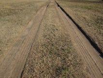 Voies de pneu dans la boue sèche sur le champ herbeux photo stock