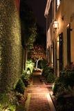 Voies de promenade allumées par lanterne en Sc de Charleston Images stock