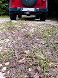 Voies des véhicules à moteur de pneu sur la traînée boueuse, voiture à l'arrière-plan La boue et la roue tracent sur la route apr Photo libre de droits