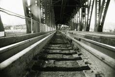 Voies ferrées sur le bridg de train Photographie stock libre de droits