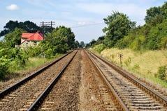 Voies ferroviaires dans le pays photos stock