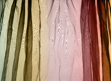 Voile curtain background brown, green, red Stock Images