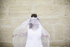 Voile en désordre de jeune mariée photos libres de droits