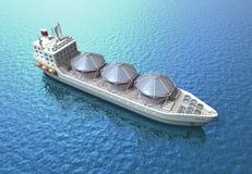 Voiles de bateau de pétrolier à travers l'océan Images libres de droits