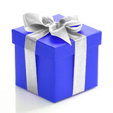 Voilet gift box with silver ribbon Royalty Free Stock Photography