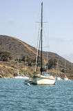 Voilier amarré chez Catalina Harbor Images libres de droits