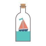 Voilier dans une bouteille en verre Photographie stock libre de droits