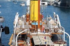 Voilier de luxe de vintage dans Monte-Carlo Harbour Close Up View photo libre de droits