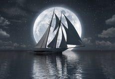 Voilier sur la mer devant la pleine lune illustration libre de droits
