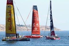 Voiliers de course d'océan de Volvo dans la course Images stock