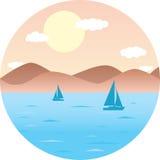 Voiliers flottant en mer Plage de montagne, le soleil Paysage plat rond d'été d'illustration de vecteur Photo libre de droits