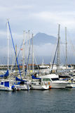 Voiliers Pico Mount - Açores Image stock
