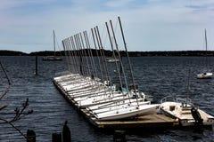 Voiliers prêts à lancer dans la baie Portland de Casco Photographie stock libre de droits