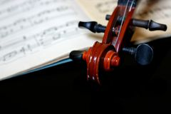 Voilin scroll. Violin scroll on sheet music stock image