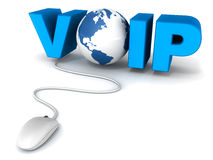 Voip. Voice over internet protocol or voip concept with text voip, o made up of earth globe model and a wired mouse connected to it on white background Stock Photo