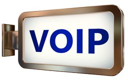 VOIP on billboard background. VOIP wall light box billboard background , isolated on white Royalty Free Stock Images