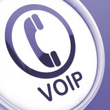 Voip Button Means Voice Over Internet Protocol Stock Photos