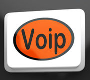 Voip Button Means Voice Over Internet Protocol Stock Image