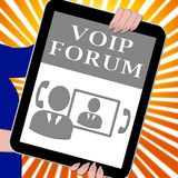 Voip Forum Tablet Showing Internet Voice 3d Illustration. S Royalty Free Stock Image