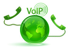 VoIP - Globe and phone receivers Royalty Free Stock Image