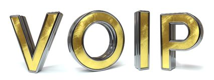 Voip golden text. Voip 3d rendered gold and silver color text on white Royalty Free Stock Images