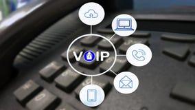 VOIP i telekomunikacyjny pojęcie, IP telefon łączy inny VOIP przyrząd obraz stock