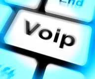 Voip Keyboard Means Voice Over Internet Protocol Or Broadband Te Stock Photos