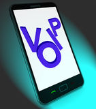 Voip On Mobile Shows Voice Over Internet Protocol Or Ip Telephon Stock Images