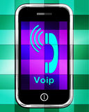 Voip On Phone Displays Voice Over Internet Protocol Or Ip Teleph Stock Images