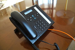 VoIP phone inside hotel Stock Photo
