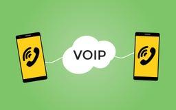 Voip stämma över protokollbegrepp med två smartphones royaltyfri illustrationer