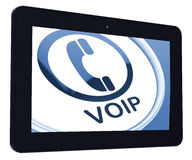 Voip Tablet Means Voice Over Internet Protocol Or Broadband Tele Stock Photo