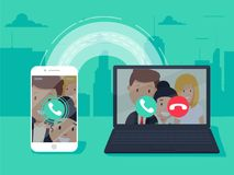VoIP-Technologie, Stimme über IP, IP-Telefoniekonzept Smartphone mit abgehendem Ruf, Computer mit eingehendem Anruf vektor abbildung