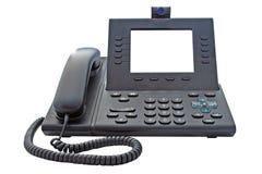 VoIP-Telefon mit leerer Anzeige stockbild