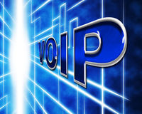 Voip Telephony Indicates Voice Over Broadband And Protocol. Telephony Voip Representing Voice Over Broadband And Communication Stock Photo