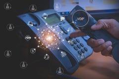 Voip und Telekommunikationskonzept stockbild
