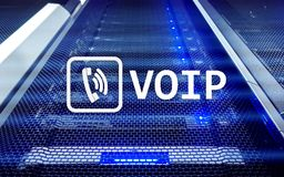 VOIP, Voice over Internet Protocol, technology that allows for speech communication via the Internet. Server room background.  Royalty Free Stock Images