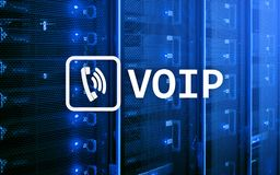 VOIP, Voice over Internet Protocol. Technology that allows for speech communication via the Internet. Server room background Royalty Free Stock Photos