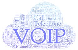 VOIP word cloud. Wordcloud made with text only stock illustration