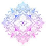 Voir l'oeil dans le mandala illustration stock