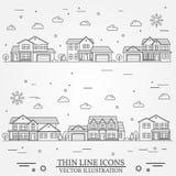 Voisinage avec des maisons illustrées sur le blanc Photo stock