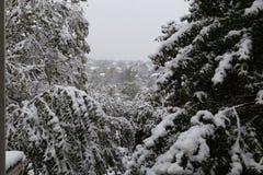 Voisinage sous le siège : Première neige de saison de 2018 hivers en Omaha Nebraska Etats-Unis photo stock