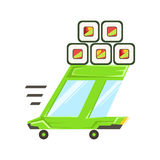 Voiture à emporter de vert de service de la livraison rapide avec les sushi japonais Rolls sur le toit allant livrer la nourritur Image libre de droits