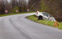 Voiture écrasée après accident Photo stock