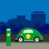 Voiture électrique à l'illustration de station de charge Images stock