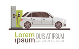 Voiture électrique au véhicule écologique de station de charge illustration libre de droits