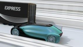 Voiture ?lectrique autonome passant un camion noir sur la route illustration stock