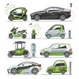 Voiture électrique avec la batterie de voiture électrique d'électro de transport d'eco de panneaux solaires de vecteur d'illustra Photos libres de droits