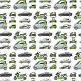 Voiture électrique avec la prise sans couture d'automobile d'illustration de vecteur de fond de modèle de transport d'eco de pann illustration libre de droits