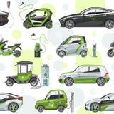 Voiture électrique de vecteur avec la batterie de voiture électrique d'électro de transport d'eco de panneaux solaires d'illustra Image stock